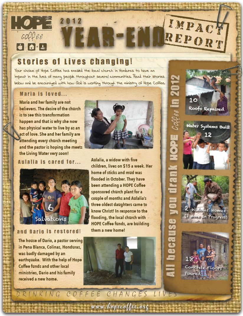 2012 HOPE Coffee Year End Impact Report